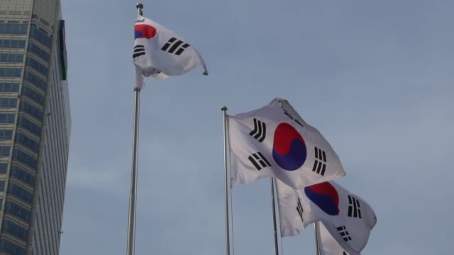 flag of south korea flapping during the day - seoul video stock e b–roll