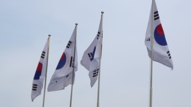Flag of South Korea flapping during the day Flag of South Korea flapping during the day south korea stock videos & royalty-free footage
