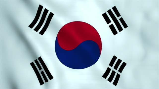 vídeos de stock e filmes b-roll de flag of south korea - coreia do sul