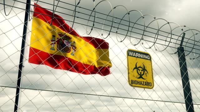Flagge von Spanien mit Biohazard Zeichen Warnung vor Quarantäne. Loopable. – Video