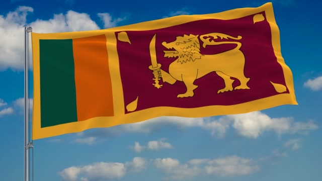 Flag of Sri Lanka against background of clouds floating on the blue sky Flag of Sri Lanka against background of clouds floating on the blue sky colombo stock videos & royalty-free footage