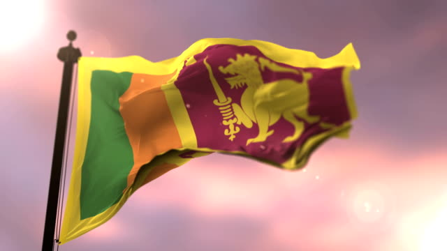 Flag of Sri Lanka waving at wind in slow at sunset, loop Flag of Sri Lanka waving at wind in slow at sunset, loop colombo stock videos & royalty-free footage