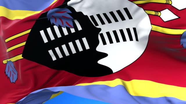 Flag of Swaziland waving at wind in slow in blue sky, loop video