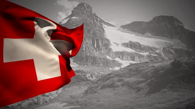 Flag of Switzerland waving