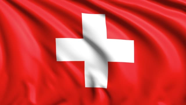 Flag of Switzerland with fabric structure in the wind (loopable)