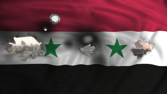 flag of syria waving and bombed city on the background flag of syria waving and bombed city on the background damascus stock videos & royalty-free footage