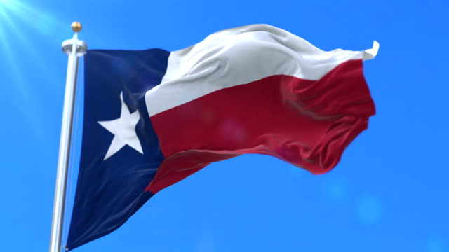 Flag of Texas state, region of the United States - loop Flag of american state of Texas, region of the United States, waving at wind - loop texas stock videos & royalty-free footage