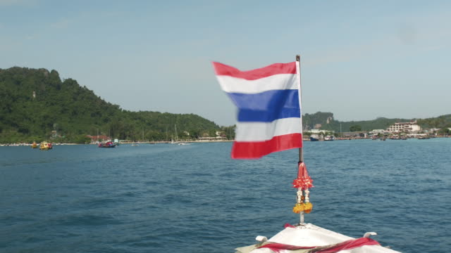 Flag of Thailand on the bow of the boat video