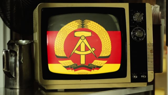 Flag of the German Democratic Republic (East Germany) on a Retro TV.