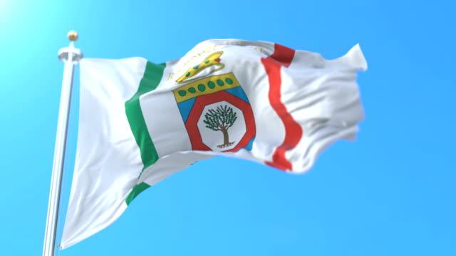 flag of the italian region of apulia, italy. loop - lecce video stock e b–roll