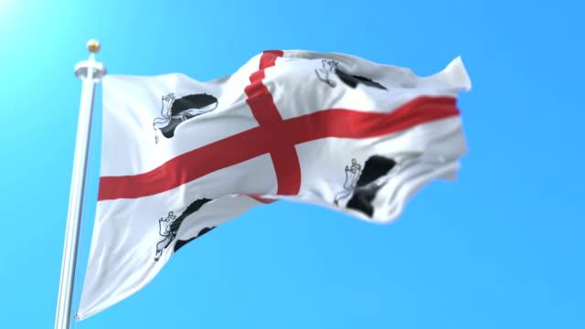 flag of the italian region of sardinia, italy. loop - sardegna video stock e b–roll