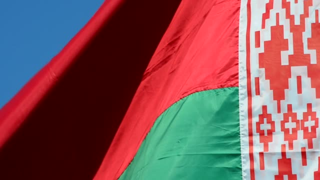 Flag of the Republic of Belarus against the sky. Flag of the Republic of Belarus against the sky. belarus stock videos & royalty-free footage