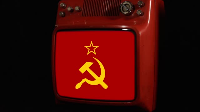 Flag Of The Soviet Union on a Retro TV.