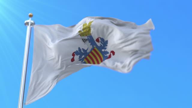 flaga hiszpańskiej prowincji walencja w walencji wspólnoty, hiszpania - loop - insygnia filmów i materiałów b-roll