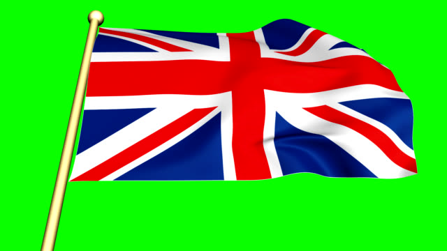 Flag of the United Kingdom   animated on green screen video