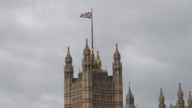 Flag Of The United Kingdom On Houses Of Parliament