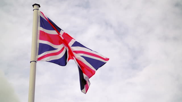 Flag of the United Kingdom. Slow Motion video