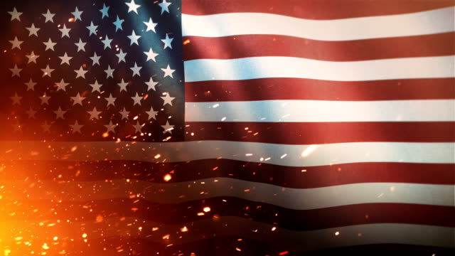 flag of the united states of america - crisis / war / fire (loop) - continente americano video stock e b–roll