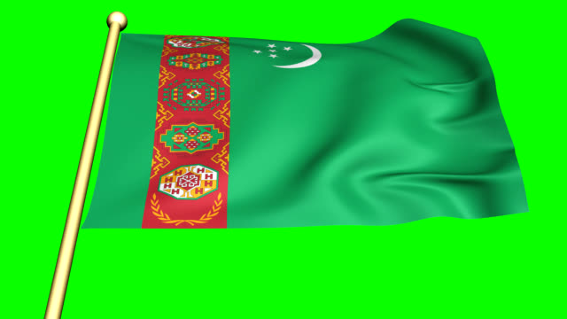 Flag of Turkmenistan   animated on green screen Flag of Turkmenistan isolated vector in official colors and Proportion animated with the wind on green background turkmenistan stock videos & royalty-free footage