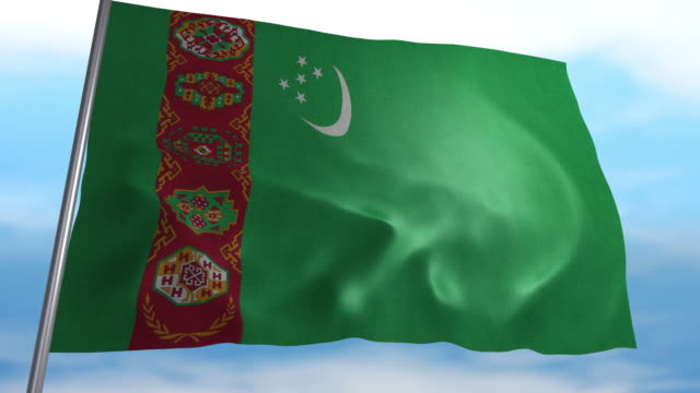 Flag of Turkmenistan Seamless looping animated flag of Turkmenistan blowing in the wind in 4K resolution including luma matte turkmenistan stock videos & royalty-free footage