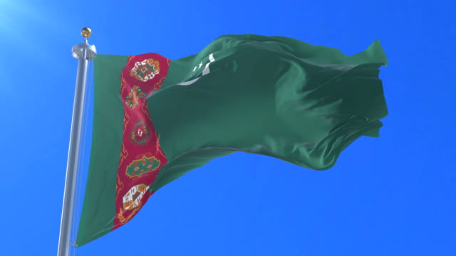 Flag of Turkmenistan waving at wind in slow with blue sky, loop Flag of Turkmenistan waving at wind in slow with blue sky, loop turkmenistan stock videos & royalty-free footage