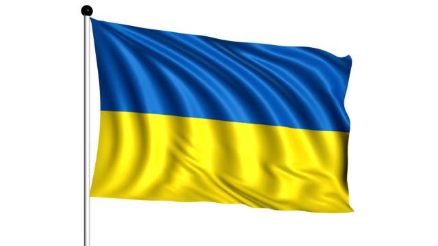 flag of ukraine - loop (+ alpha channel) - kanvas bildbanksvideor och videomaterial från bakom kulisserna