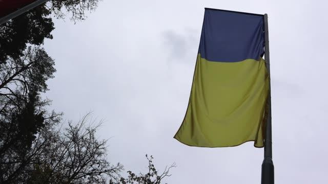 flag of ukraine on a flagpole fluttering in the wind against a deep dramatic sky in cloudy weather - polityka i rząd filmów i materiałów b-roll