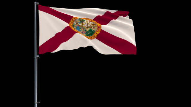 Flag of United States Florida, 4k prores 4444 footage with alpha IIsolate flag of United States Florida on flagpole fluttering in wind, 3d rendering, 4k prores 4444 footage with alpha transparency florida us state stock videos & royalty-free footage