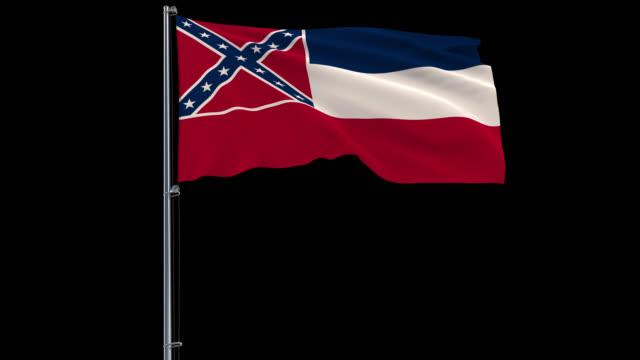 flag of united states mississippi, 4k prores 4444 footage with alpha - insygnia filmów i materiałów b-roll