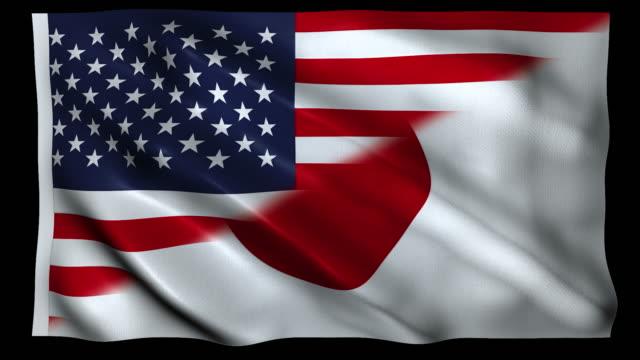 abd ve japonya alfa döngüsünün 4k bayrağı - amerika kıtası stok videoları ve detay görüntü çekimi