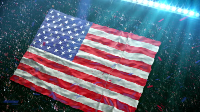 flag of usa at the stadium - sports fans stock videos and b-roll footage