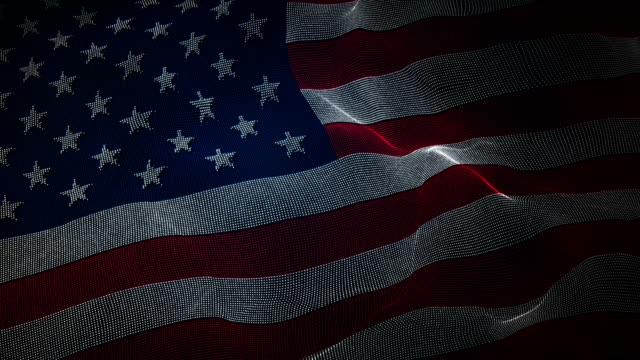 Flag of USA - Digital Binary code Background Loop