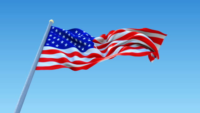 Flag of USA Waving On Clear Sky , Seamless Loop Animation. United States of America video