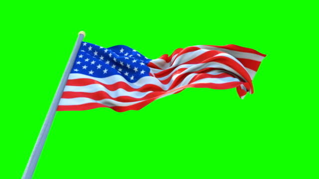 Flag of USA Waving On Green Screen Background , Seamless Loop Animation.United States of America video
