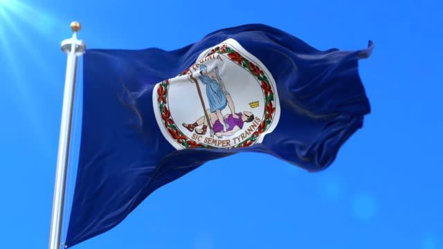 vídeos de stock, filmes e b-roll de bandeira do estado da virgínia, região dos estados unidos - laço - flag