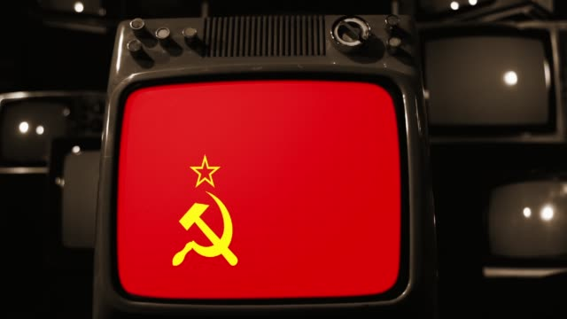 USSR Flag on a Retro TV.