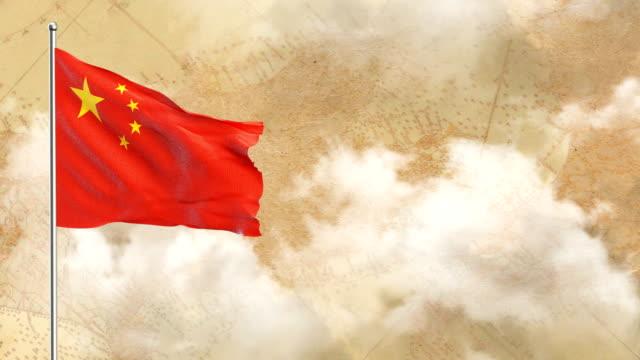 3D bandera de fondo histórico y fondo de cielo azul - vídeo