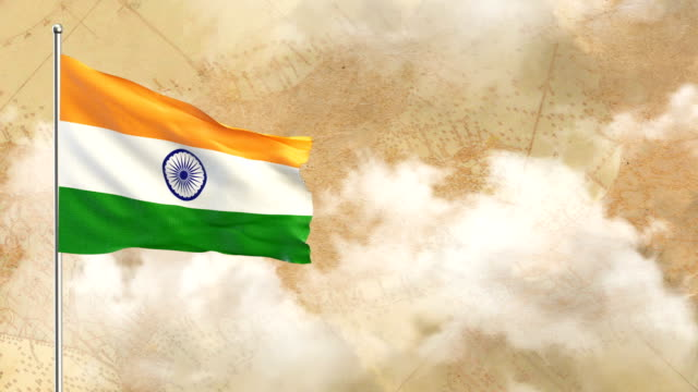 3D Flag on  historical background then blue sky background video