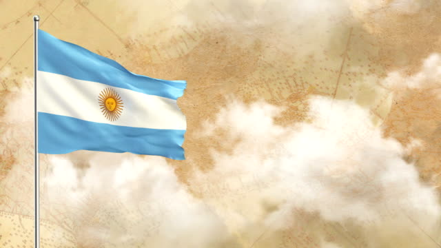 3d flag on  historical background then blue sky background - bandiera dell'argentina video stock e b–roll