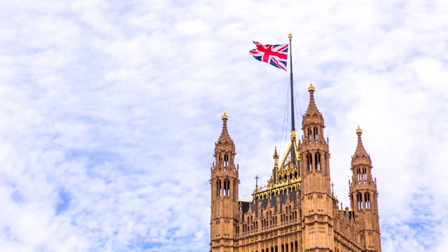 UK flag on Houses of Parliament video