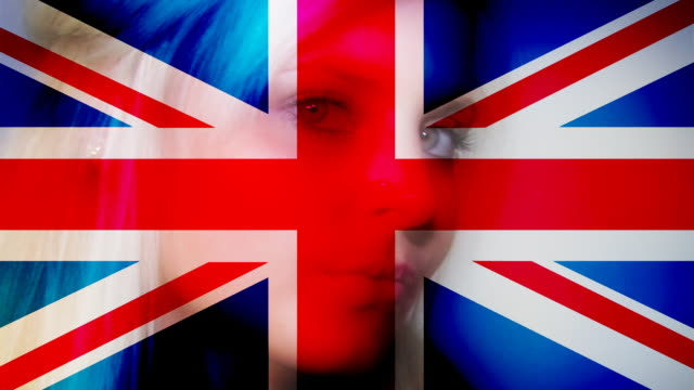 UK flag on woman face video