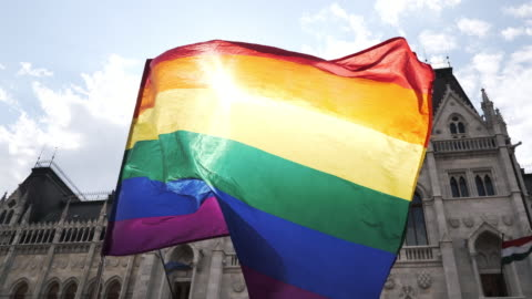 LGBT flag waving during the Pride rally  - slow motion video Pride festival and rainbow flag waving pride stock videos & royalty-free footage
