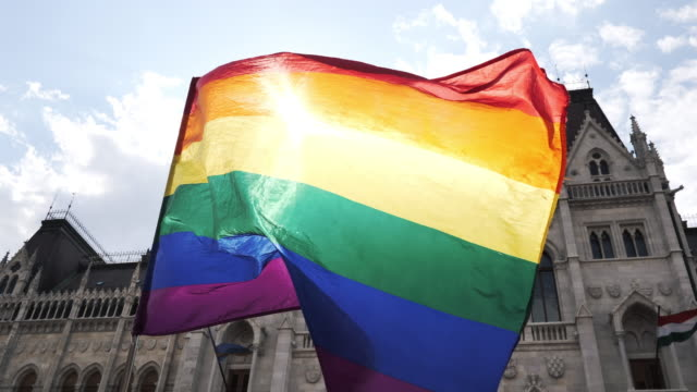 LGBT flag waving during the Pride rally  - slow motion video Pride festival and rainbow flag waving hungary stock videos & royalty-free footage