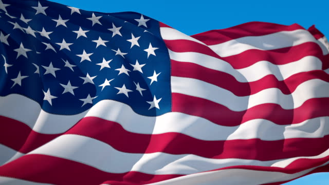 vídeos de stock e filmes b-roll de usa flag waving in the wind background animation seamless looping - mês