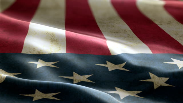 USA flag waving in the wind background animation seamless looping video