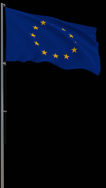 EU flag, waving on transparent background, prores footage with alpha channel, vertical video