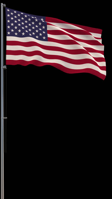 USA flag, waving on transparent background, prores footage with alpha channel, vertical video