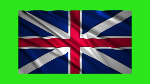 UK flag waving,loopable on green screen video