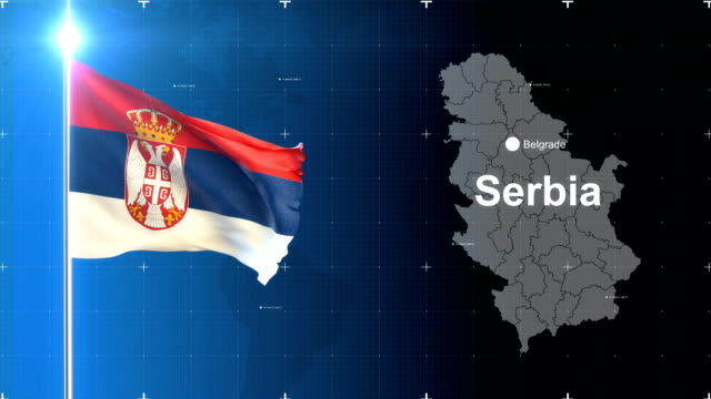 3d flag with map + green screen - serbia video stock e b–roll