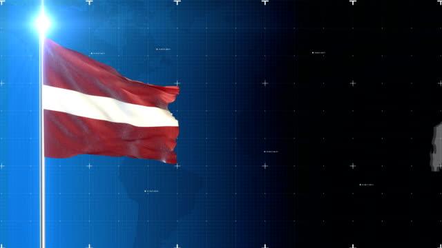 vídeos de stock e filmes b-roll de 3d flag with map + green screen - letónia